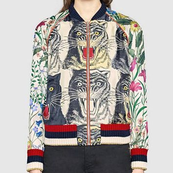 Gucci Popular Women Leisure Four Tiger Head Print Stitching Embroidery Zipper Cardigan Jacket Coat