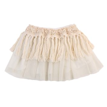 Pudcoco Baby Girls Skirt Newborn Tutu Lace Tassel Party Princess Skirt Clothes Mini Skirt 0-2Y