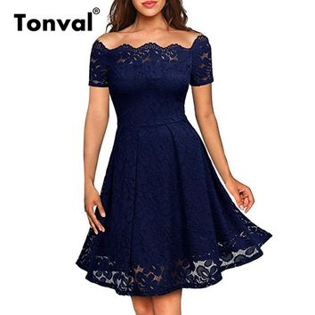 Tonval Vintage Navy Blue Lace Pleated Dress Women Short Sleeve Party Summer Dress Elegant Off Shoulder Sexy Dress