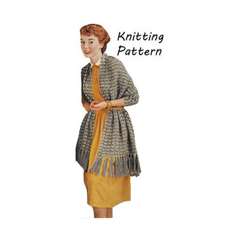 Woman's Two Tone Stole, Prayer Shawl, Wrap, Knitting Pattern || Vintage 1950's || Reproduction PDF Instant Download Sheila C-160