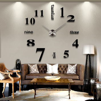 Large Wall Clock 3D Mirror Surface Sticker Home Office Decor Black & Silver
