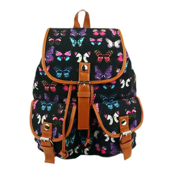 Vintage Women's canvas Rucksack Butterfly printing backpack school bag for teenagers women satchel 4 colors