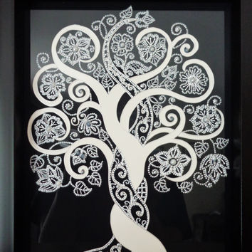 "Tree of life art 9""x11"" Glass painting White on black Wall decor"