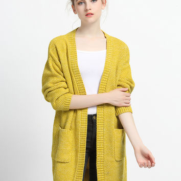 Yellow Boyfriend Open Knit Cardigan