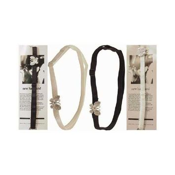 Thin Strap Headband with Silver Butterfly Case Pack 60