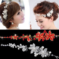 Ladies Silver Rhinestone Bridal Wedding Flower Pearls Headband Hair Clip Comb = 1933195332