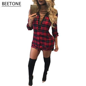 New Arrival Deep V Hollow Out Bodycon Dress Women Elegant Red Gray Plaid Mini Vintage Dresses Vestidos De Festa Plus Size