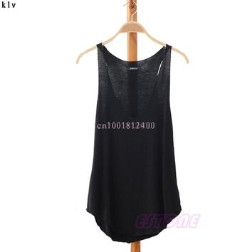 2017 Summer T-Shirt Fashion Women Simple Casual Cotton Loose V-Neck Vest Sleeveless Solid Tank Tops for Elegant Ladies mujer