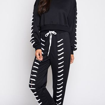Urban Princess Long Sleeve Crew Neck Lace Up Sweatshirt Jogger Pant Two Piece Jumpsuit - 2 Colors Available