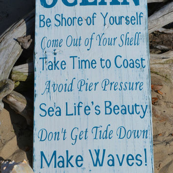 Advice From The Ocean Wood Sign, 12x24, Hand Painted No Vinyl, Weathered Wood, Beach Decor, Coastal, Nautical Wooden Ocean Sign Advice Ocean