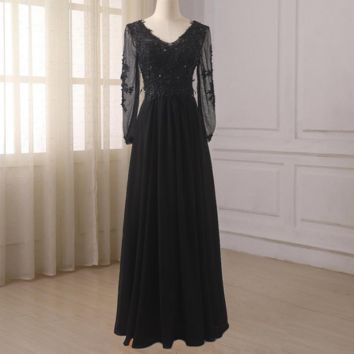 Black Long Sleeves Prom Dresses V-neck Beaded Applique Chiffon Formal Party Gowns Floor Length