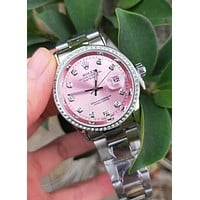 "Hot Sale ""Rolex"" Trending Ladies Men Stylish Diamond Quartz Watch Wristwatch Pink I/A"