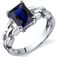 Blue Sapphire Chain Link Ring, Sterling Silver