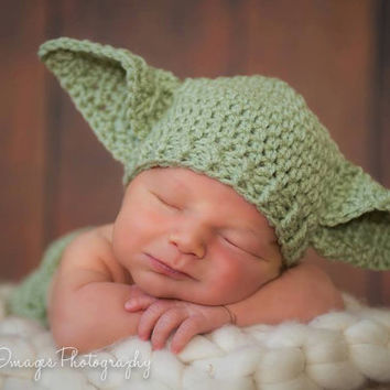 Baby Yoda Hat Star Wars Newborn 3m 6m Crochet by NitaMaesGarden
