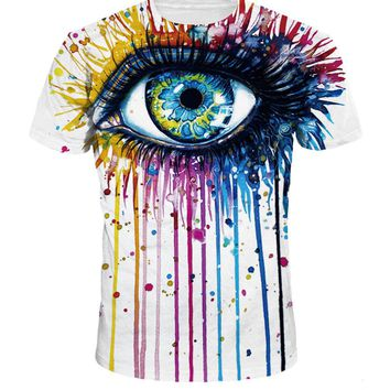Streetstyle  Casual Casual Crew Neck Eye Printed T-Shirt