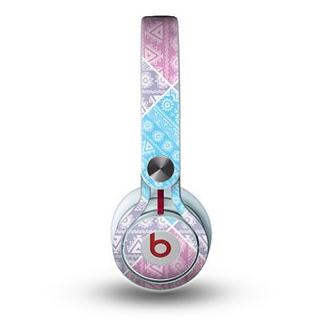 The Squared Pink & Blue Textile Patterns Skin for the Beats by Dre Mixr Headphones