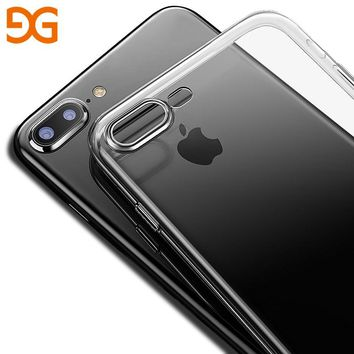 GUSGU Clear Soft TPU Transparent Phone Cover Case for iPhone 7P/8 Plus Ultra Thin Silicone Phone Back