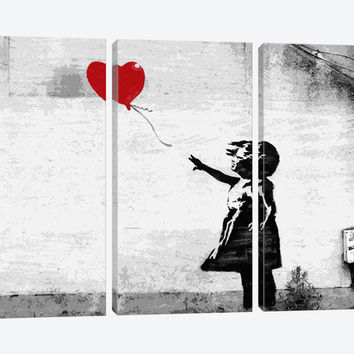 """Girl with a Balloon by Banksy Canvas Print 60"""" L x 40"""" H x 0.75"""" D"""
