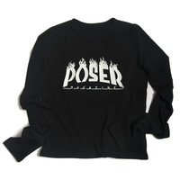 "Black ""POSER"" Long Sleeve Top"