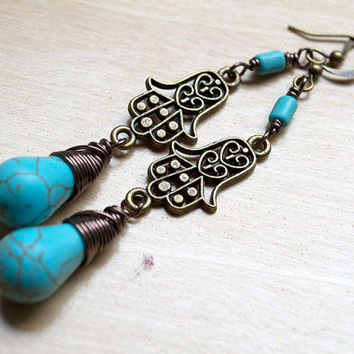 Hamsa Hand Turquoise Earrings, Boho Fashion, Fatima Hand, Hippie Bohemian, Dangle Earrings, Wire Wrapped Briolette, Yoga Earrings, Spirited