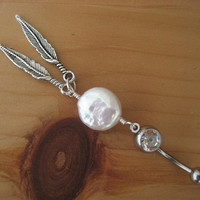 Belly Button Ring- Coin Pearl Double Feather Dream Catcher Navel Piercing