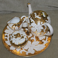 Made in Italy, Porcelain, China, Tea Set, Creamer, Pitcher, Sugar Bowl, Hand Painted, Gold and White, Great Home Decoration, Kitchen Decor