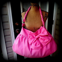 Handmade hot pink bow purse hobo bag Color variations by AddieLou
