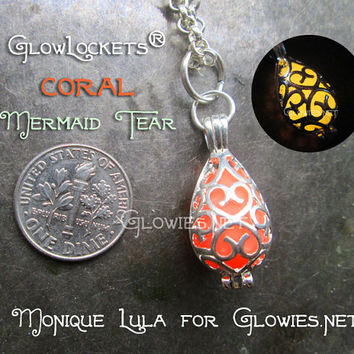 Coral Mermaid Tear Glow Locket® Pendant