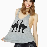 Nasty Gal Lucky Black Cats Tank