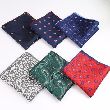Men Suits Polyester Designer Handkerchiefs Woven Printing Pocket Square Hankies Business Casual Square Pockets Hanky No.1-20
