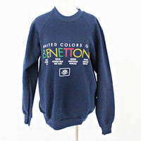vintage 80s 90s navy united COLORS of BENETTON 50 50 sweatshirt size L