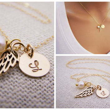 Personalized Angel Wing Necklace - Custom Initial - 14k Gold Filled Monogram - Gold Necklace - Wing Charm - Bridesmaid Necklace - Gift Idea