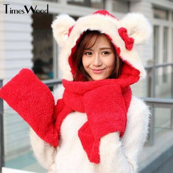 Lovely Womens Scarf, Hat & Glove Sets Rabbit Ear Styling Cap Winter Cute Girl Warm Headwear Pink Grey Red