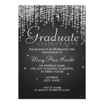 Elegant Graduation Party Night Dazzle Black Custom Announcement from Zazzle.com