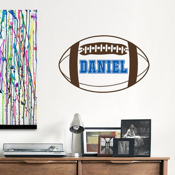 American Football Wall Decal Personalized Name Initial Decals Nursery Decor- Football Nursery Kids Boys Room Teens College Dorm Decor 0076