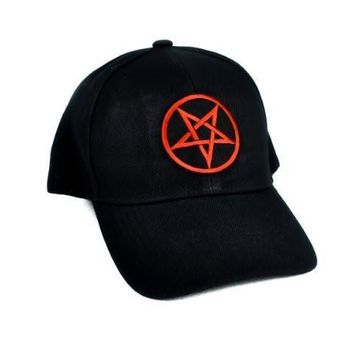 Red Pentagram Hat Evil Baseball Cap Alternative Metal Clothing Occult