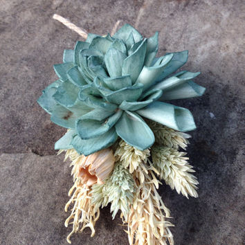 Handmade Wedding Boutonnieres- Sage Green Sola Flower Boutonnieres, Phalaris, Florentine Pods, Hooked Barley Wheat, Twine, Rustic
