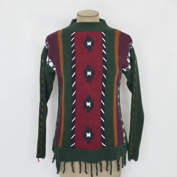 90s Vintage Sweater with Fringe Trim