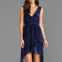LA Made Burnout Velvet Hi Lo Dress in Tahoe