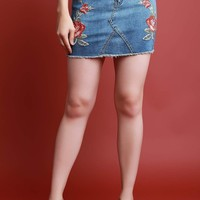 Embroidered Floral Denim Mini Skirt