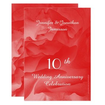 10th Wedding Anniversary Party Invite, Coral Rose Card