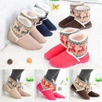 New Ankle Warm Slippers Short Plush Ladies Snow Shoes for Women Winter Thicken Artificial Plus Size [9305735879]