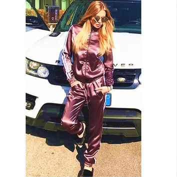Fashion Show Thin Long Sleeve Stripe Side Casual Sport Suit Two Piece