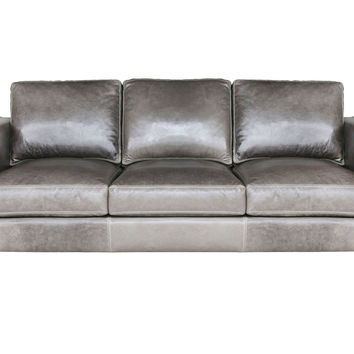"Tribeca 89"" Leather Sofa, Wolf Gray, Sofas & Loveseats"