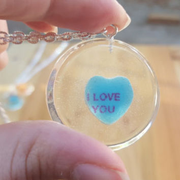 Necklace Conversation Heart Pendant Casted Candy in Resin Valentine's Day I Love You Sweetheart