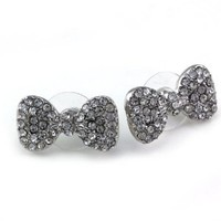 Cute Lovely Clear Rhinestone Ribbon Bow Tie Bowknot Stud Post Earrings Fashion Jewelry