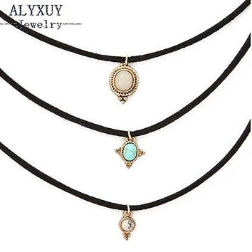 fashion jewelry leather blue stone choker necklace set 1set =3pieces