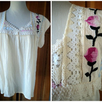 Vintage 70s Peasant Blouse Embroidered Gauze Top Pointelle Roses Muslin Cotton XL 46 B