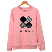 New BTS KPOP Hoodies Women Bangtan Boys 2th Album WINGS Cotton Hoodie Pullover Korean Harajuku Pink Sweatshirt Sudaderas Mujer