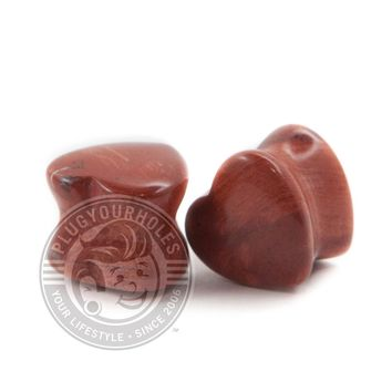 Red Jasper Heart Stone Plugs